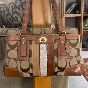💕 Coach tan brown jacquard large satchel nice 💕